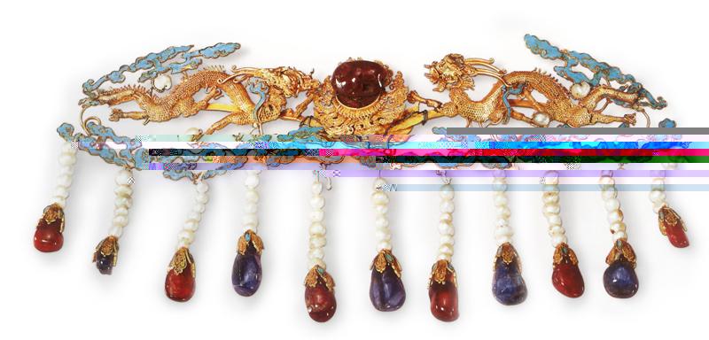 金嵌珠寶二龍戲珠鈿口